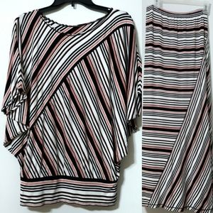 Max Edition skirt & top set black coral stripes S